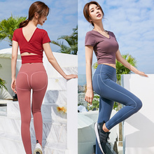 2 Piece Set Workout Clothes for Women Cropped Shirts Sports and Leggings Wear Gym Clothing Athletic Yoga