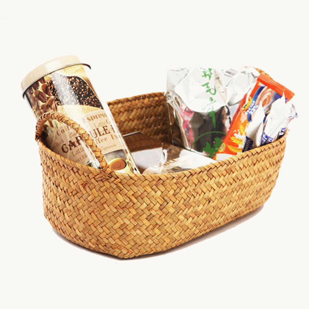 اليدوية Straw بها بنفسك القش زهرة وعاء سلة الفاكهة أشتات المنظم الروطان صندوق النبات للطي الغسيل المنزل سلة معلقة تخزين سلال