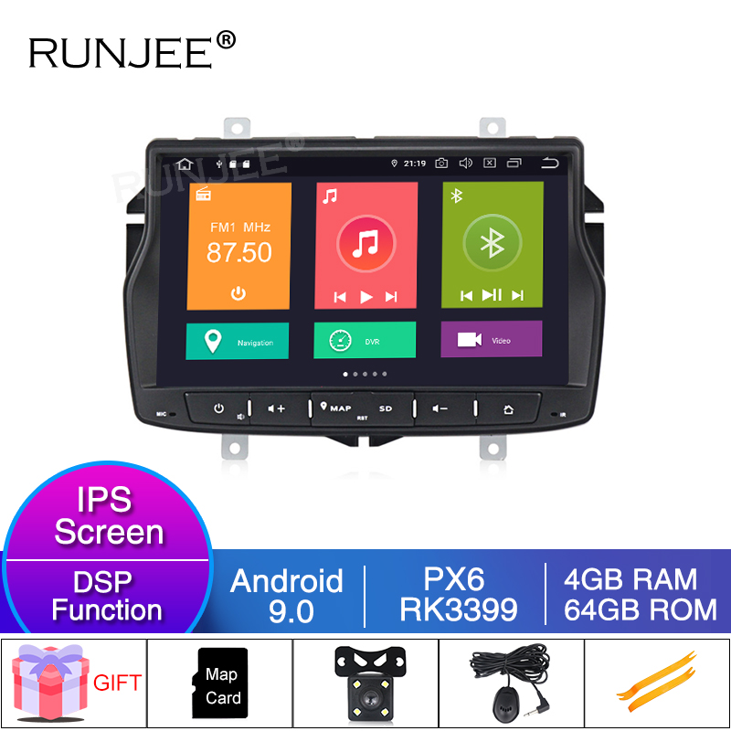 RUNJEE 8 inch PX6 RK3399 Car Multimedia player Android 9 4G 64G For Lada vesta GPS Navigation with BT WIFI SWC Video output image