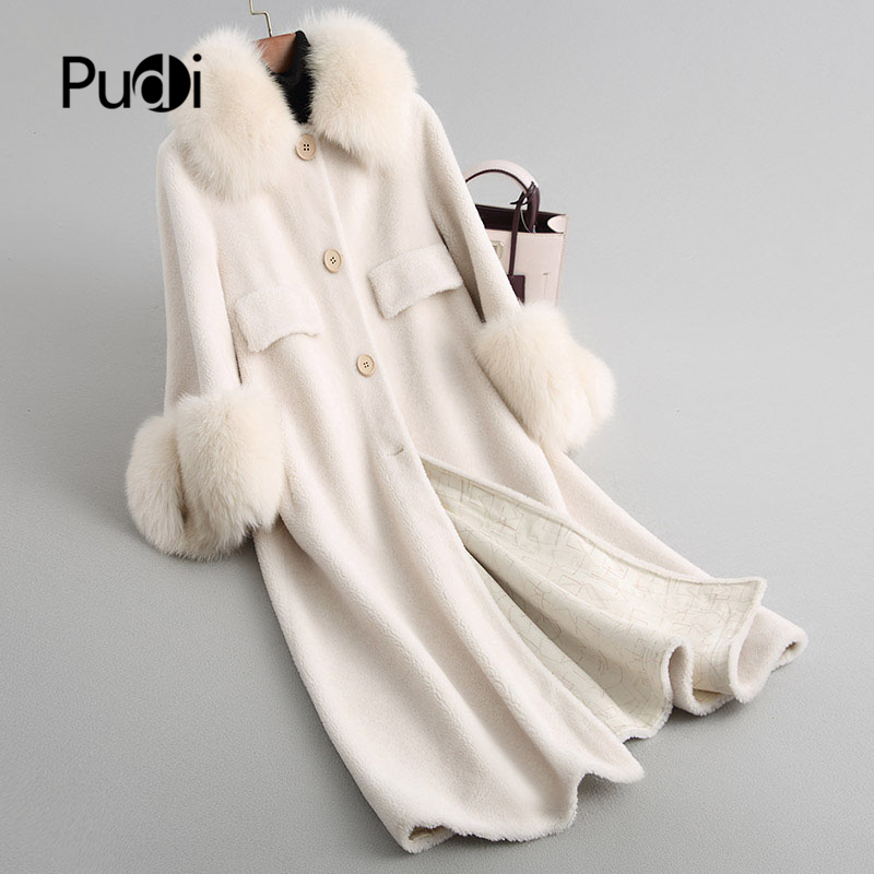 PUDI Women's Winter Warm Real Wool Fur Coat Jacket Vest Lady Overcoat With Real Fox Fur Collar F18002