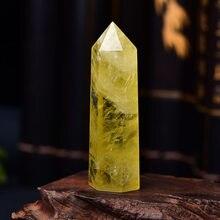1pc natural citrino cristal ponto cura obelisco amarelo quartzo varinha belo ornamento para decoração de casa reiki pedra pirâmide
