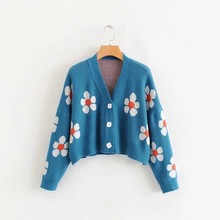 Women Casual Floral Printing Cardigans All-Match V-Neck Knitted Sweater Korean Single-Breasted Oversized