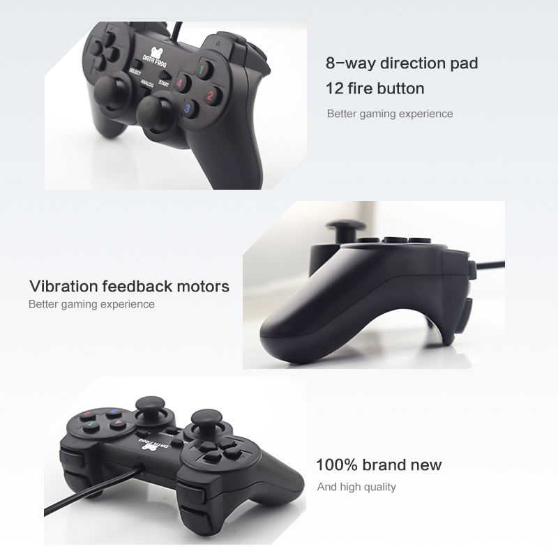 Data Frog 2pcs Vibration Controller Wired USB PC Joystick For PC Computer Laptop For WinXP/Win7/Win8/Win10 USB Joystick