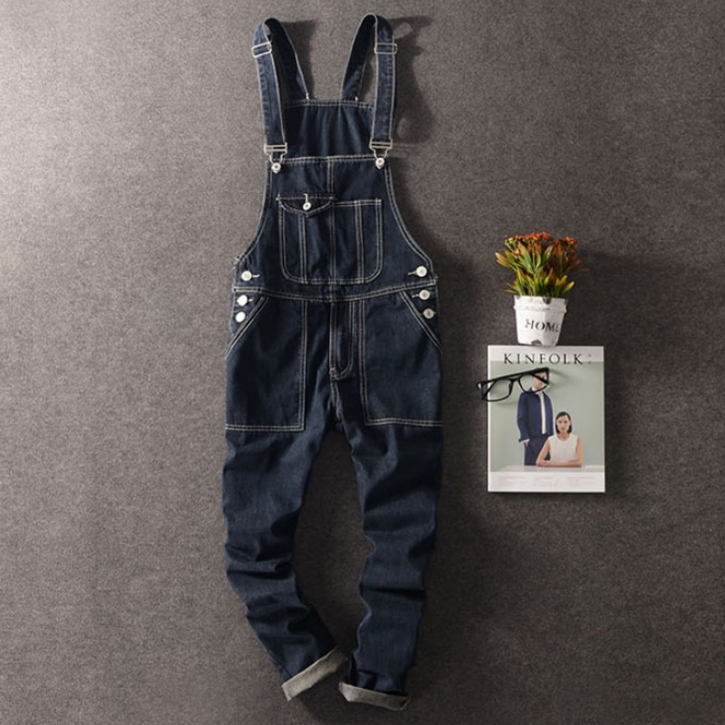 Autumn Mens Full Length Denim Pencil Pants Vintage Slim Fit Jeans Cargo Overalls Pockets Casual Homme Biker Jean Jumpsuits