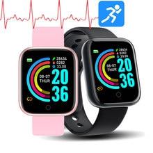 Y68 akıllı saat hayat su geçirmez spor izci nabız monitörü kan basıncı Bluetooth D20 IOS için akıllı saat Android