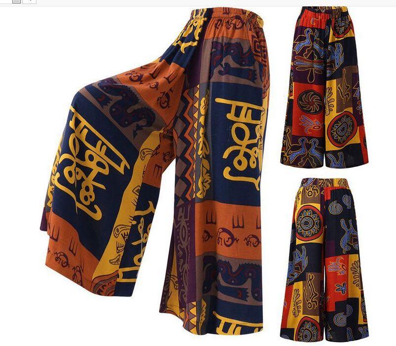 Bohemian Print Wide Leg Pants Women Thailand India Pakistan Lady Kurti Fashion High Waist Loose Trousers Africa Dashiki Costumes