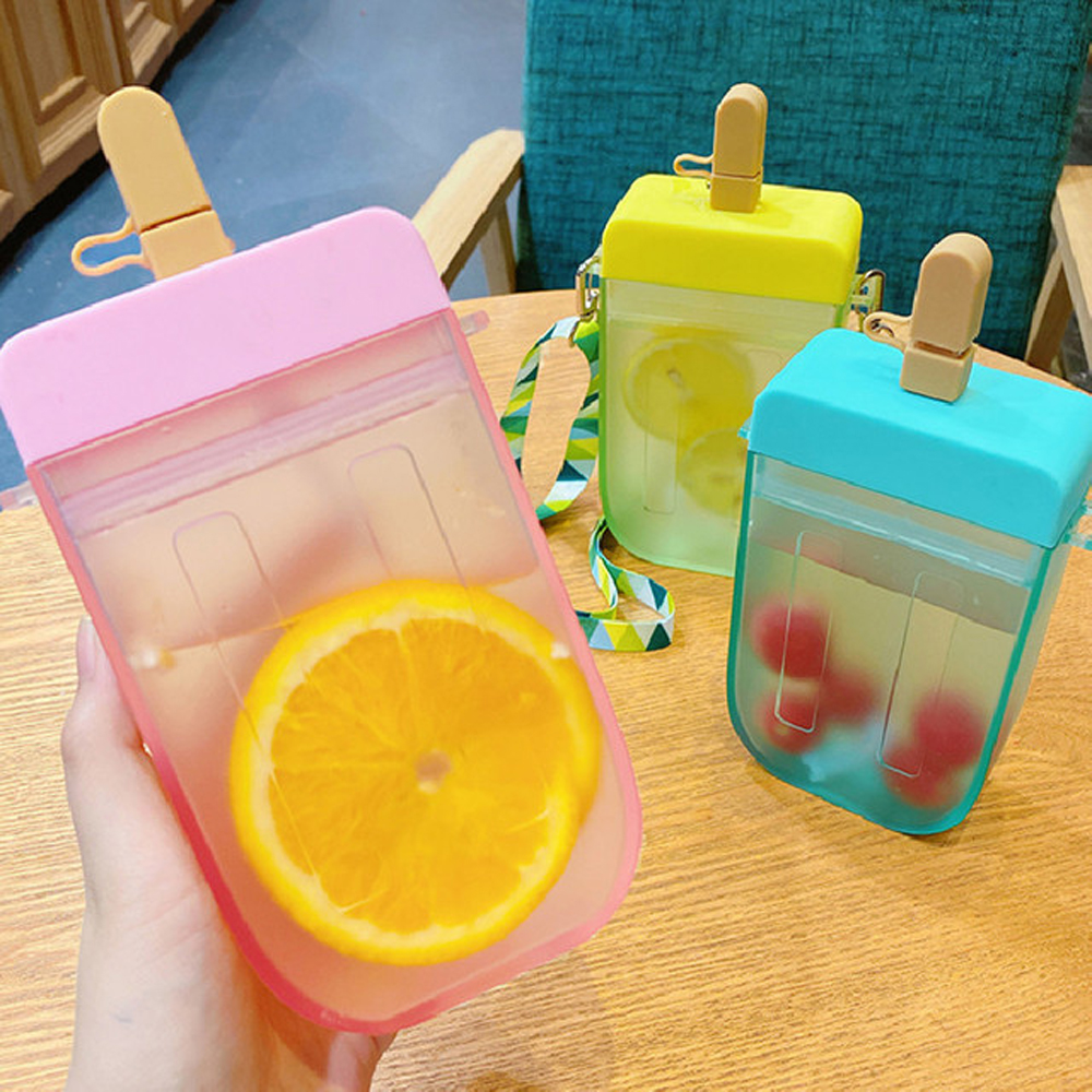 Cute Straw Cup New Plastic Popsicle Water Bottle Outdoor Transparent Juice Drinking Cup Suitable for Adult Children