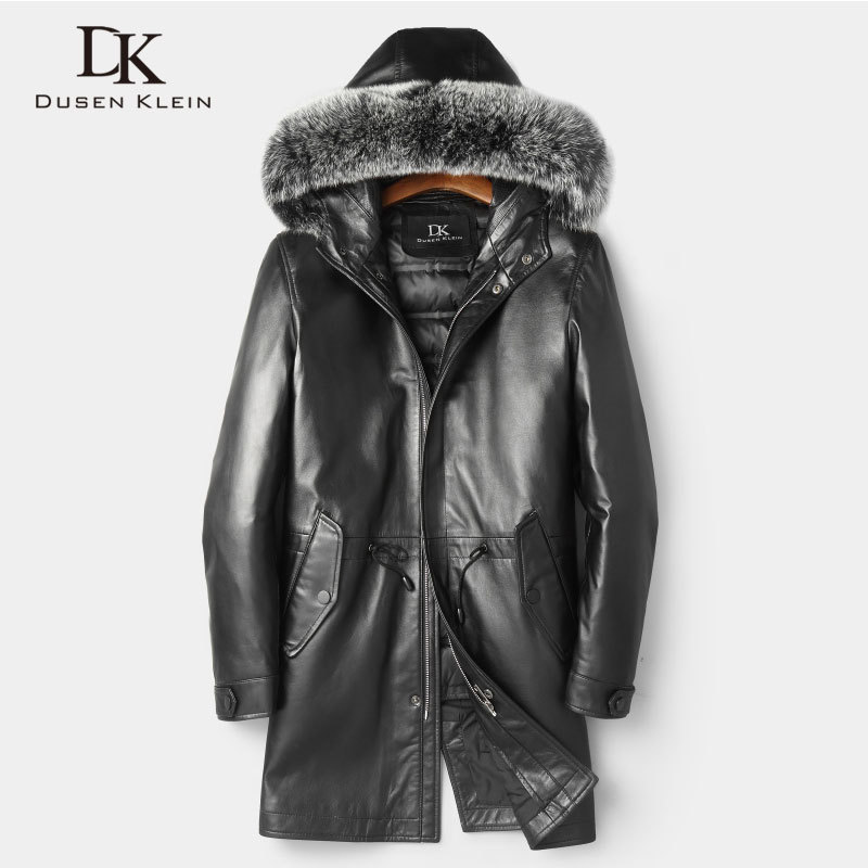 Men Genuine Leather Jackets Winter Warm Leather Down Coat Sheepskin Thick Plus Size Fox Fur Hooded Black  New Long Z1801