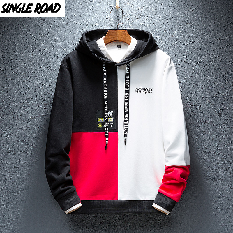 SingleRoad Men's Hoodies Men 2019 Autumn Hip Hop Japanese Streetwear Harajuku Colorblock Patchwork Hoodie Men Sweatshirt Male