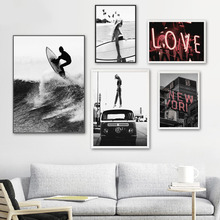 Surfing Girl Love New York City Wall Art Canvas Painting Black White Sea Nordic Posters And Prints Wall Pictures For Living Room city love