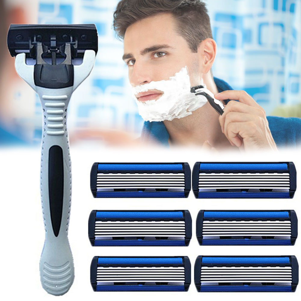 <font><b>6</b></font> Layer Home Bathroom Beard Remove Efficient Useful <font><b>Razor</b></font> <font><b>Blade</b></font> Set Replacement Manual With Holder Stainless Steel Shaving Safe image