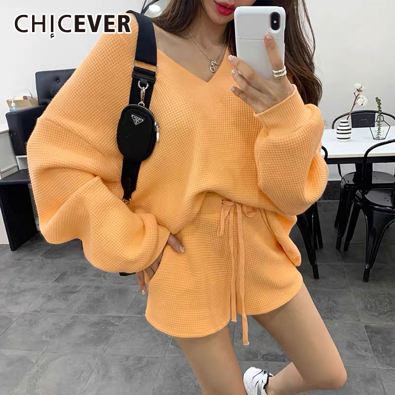 CHICEVER Knitted Two Piece Set Women V Neck Lantern Sleeve Sweater Lace Up Bowknot Shorts Suits Female 2020 Fashion Clothes New