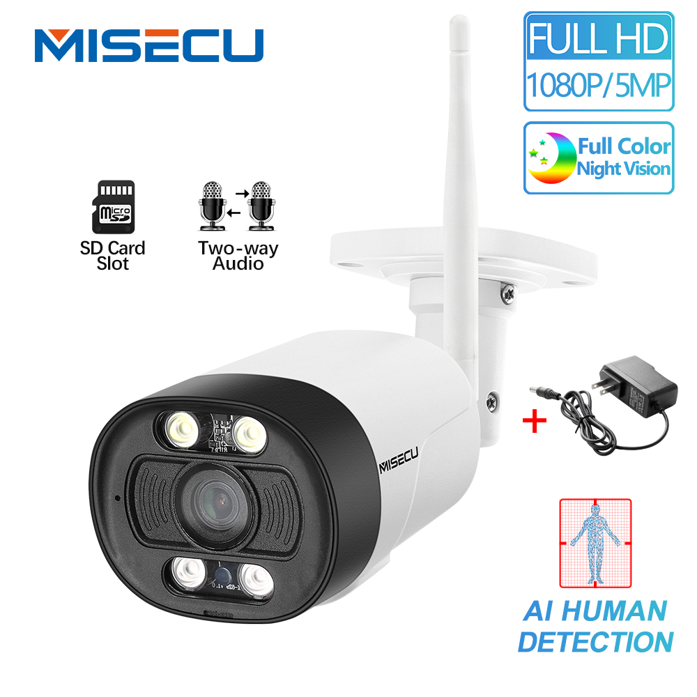MISECU HD 5MP H.265 WiFi IP Camera 1080P AI Human Detection Two Way Audio Outdoor Waterproof Onvif Color Night Security Camera