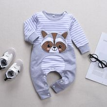 New Autumn Long Sleeves Striped Print Stitching Design Onesies Fashion Cute Cartoon Bear Baby 0-3T Newborn Baby Clothes red hooded design long sleeves stitching jumper