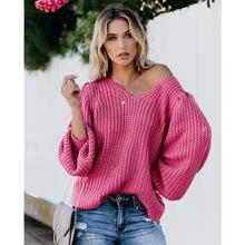Свободный Женский вязаный свитер с v образным вырезом пуловер