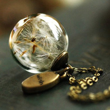 2020  Dandelion glass cover Necklace wish pendant plant specimen dry flower hand glass ball sweater chain new trendy natural dandelion seed pendant necklace handmade transparent lucky wish glass ball long chain necklace for women gift