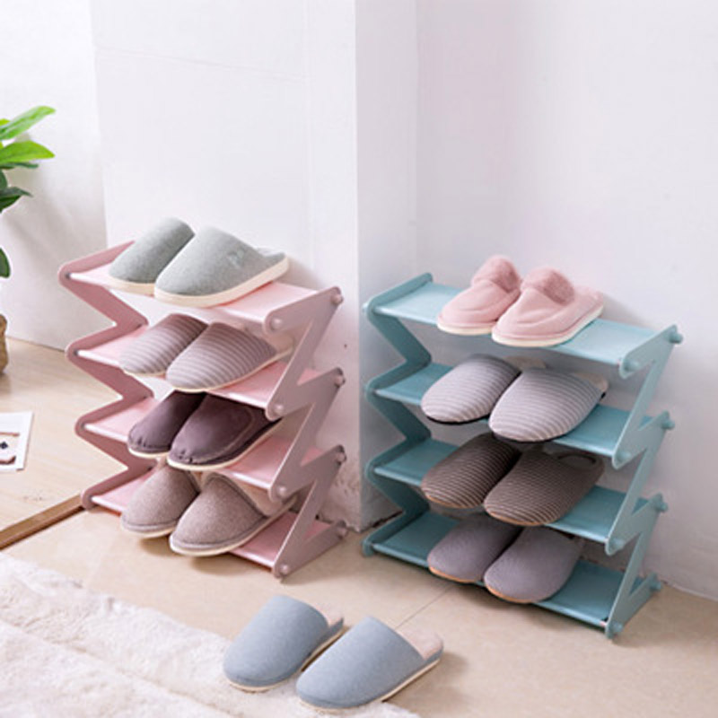 4 Layers Simple Shoe Rack Steel Tube Plastic Assembled Shoes Storage Organizers Entrance Space-Saving Home Furniture Shoe Shelf