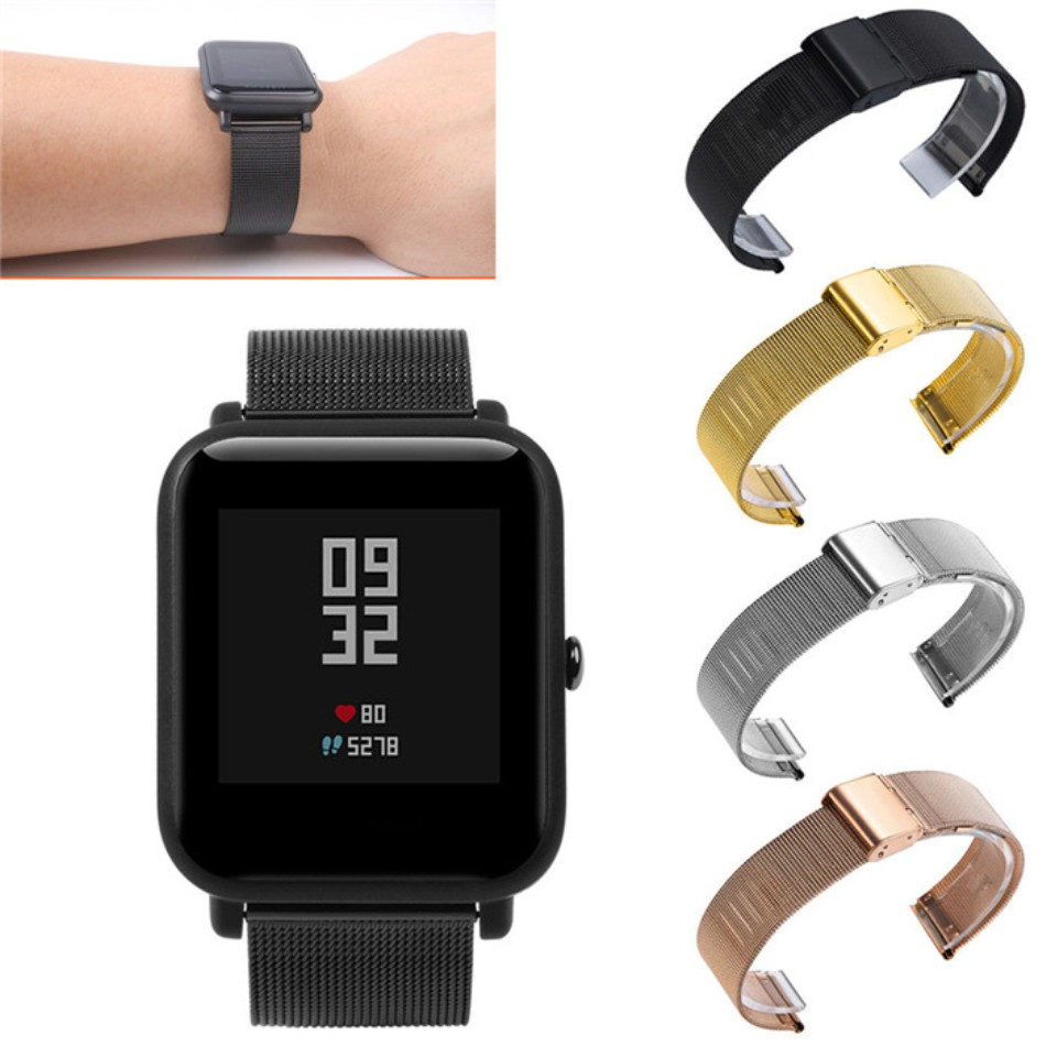 20mm 22mm Stainless Steel SmartWatch Band Strap For Xiaomi Amazfit Bip Stratos 2/2s Bracelet Wrist Band Samsung Galaxy 42mm 46mm