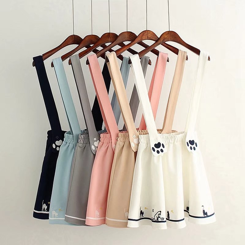 Kawaii Skirts Womens Embroidered Suspender Skirt Ladies Korean Mini A Line Skirts Sweet Pink Skirts Preppy Overall 2020 Summer