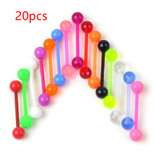 20PCS Flexible UV Straight Tongue Rings 14G Acrylic Mixed Bar Piercing Jewelry
