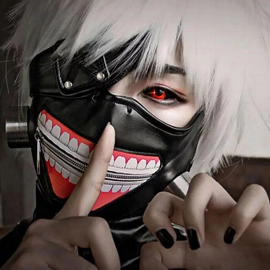 Anime Cosplay Props Tokyo Ghoul 2 Kaneki Ken Cosplay Costume Wig Mask Adjustable Zipper Rubber Masks Fancy Ball Blinder Accessor