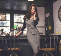 W123 2019 autumn and winter new slim women's long sleeve wrap hip sexy dress