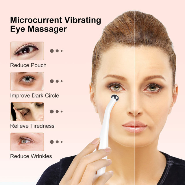 Vibrating Eye Massager Micro-current Eye Wand Negative Ion Importing Frown Lines Remover Anti Wrinkle Eyes Face Skin Care Tools 1