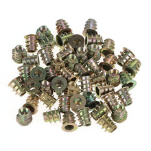 50Pcs M5*10mm Zinc Alloy Hex Drive Head Furniture Nuts Threaded for Wood Insert Nut Flanged Hex