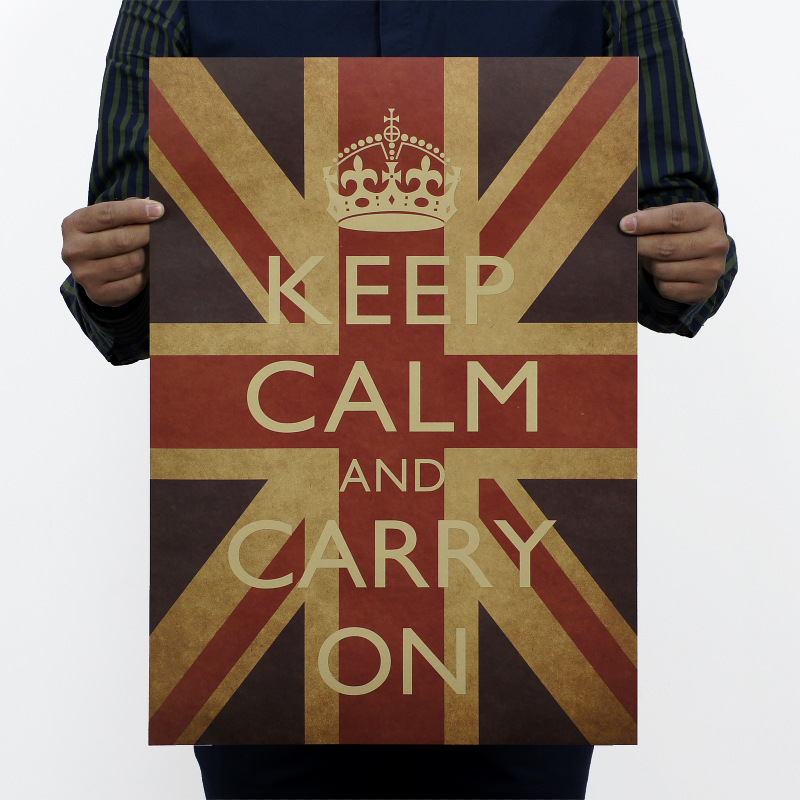 KEEP CALM AND CARRY ON Vintage Kraft Paper Classic Movie Poster Map School Decor Garage Wall Decor Art  Retro School Prints