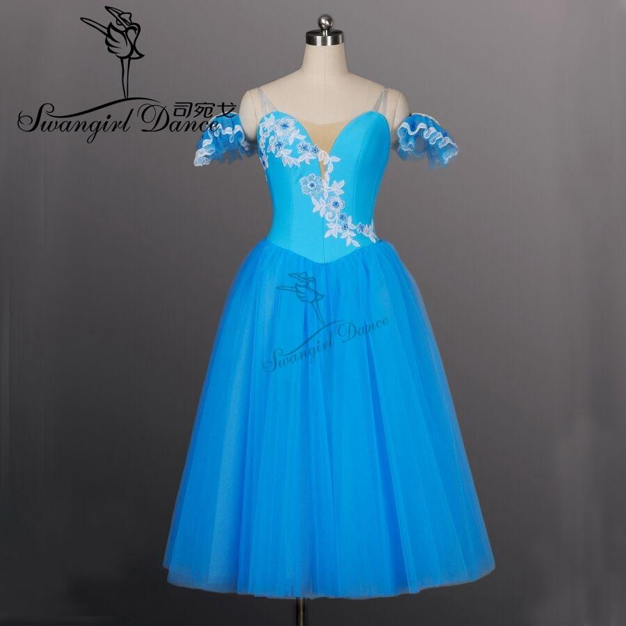 sinilind Romantiline pika pikkusega balleti tutus tüdrukud Giselle Ballet Tutu pikk balleti tutu tüdrukutele, balleti kostüümBT8906