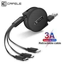 цена на Cafele 3 in 1 Micro USB cable Type-c for iPhone Charger Cable Portable Retractable Fast Charging USB Cable for Xiaomi Huawei