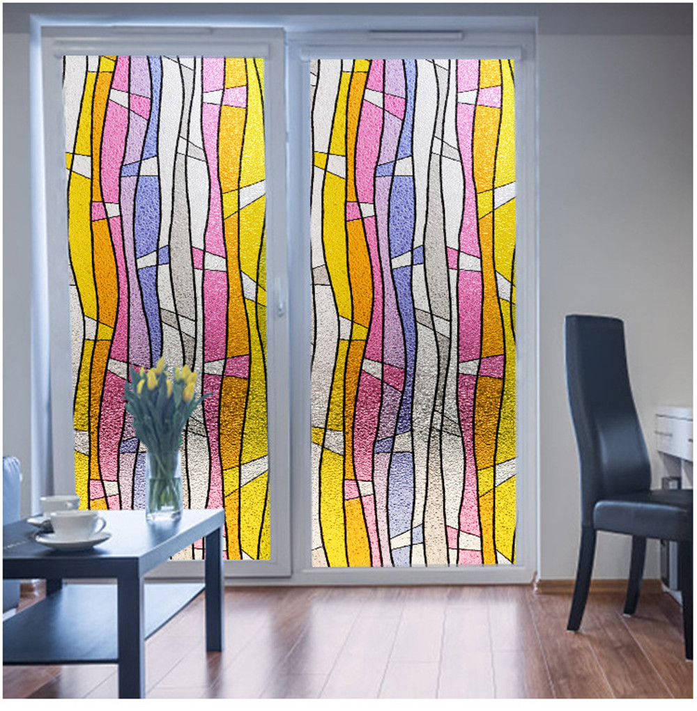 LUCKYYJ Privacy Glass Film,Static Cling Window Film,Self-adhesive Window Sticker Anti-UV Opaque Decoration for Home Living Room