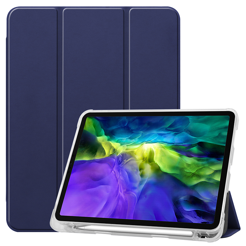 Dark Blue Blue Clear TPU case with pencil slot for 2020 iPad Pro 11 inch A2228 A2068 A2230 transparent