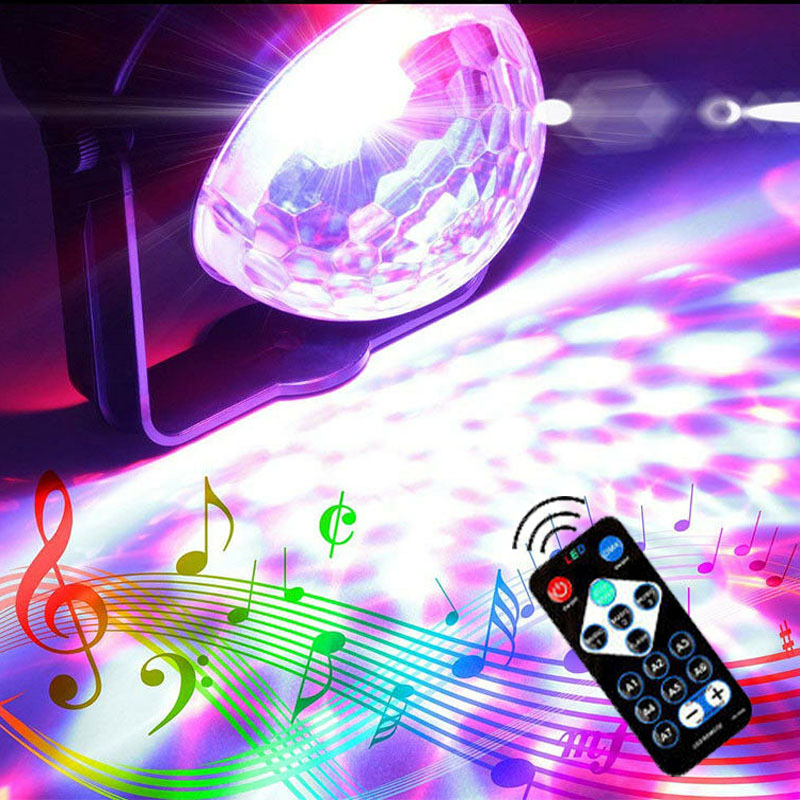 SPLEVISI 110V-240V  Mini Stage Magic Disco Ball Lamp Effect Rotating DJ Party Lazer LED Light RGB With Remote