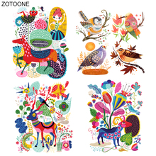 ZOTOONE Iron on Colorful Animal Deer Flower Patch Transfers for Clothing T-shirt Heat Appliques DIY Bird Stickers E