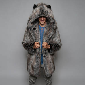 Fashion Mens Warm Thick Coat Jacket Faux Fur Parka Outwear Cardigan Overcoat Thick Jackets and Coats Man Winter Parkas