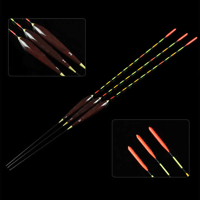 3Pcs Fishing Float Bobber High Sensitivity Float Marked Bold Tail Fir Wood Fluorescent Fishing Light Float Fishing Accessories