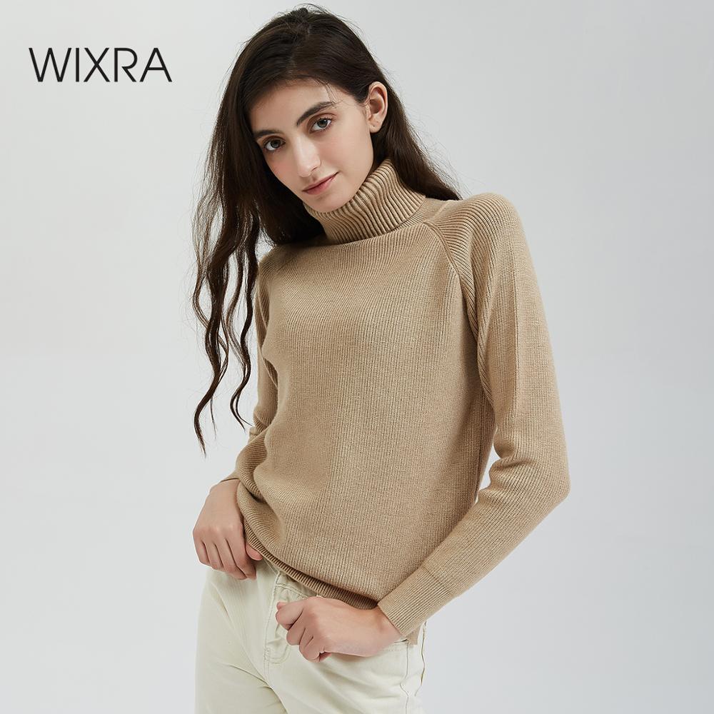 Wixra épais col roulé chaud femmes Pull tricoté femme Pull haute élasticité femelle solide pulls automne hiver