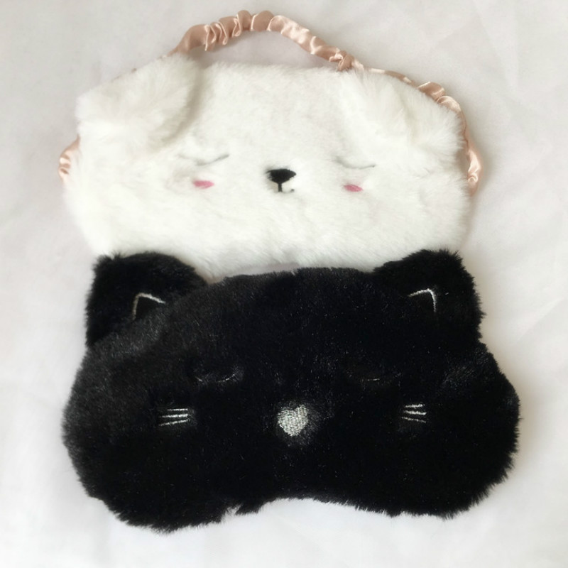 Warm Winter Sleep Eye Mask Shade Nap Plush Blindfold Face Cute Shading Sleep Cotton Goggles Aid Relax Travel Eyepatch