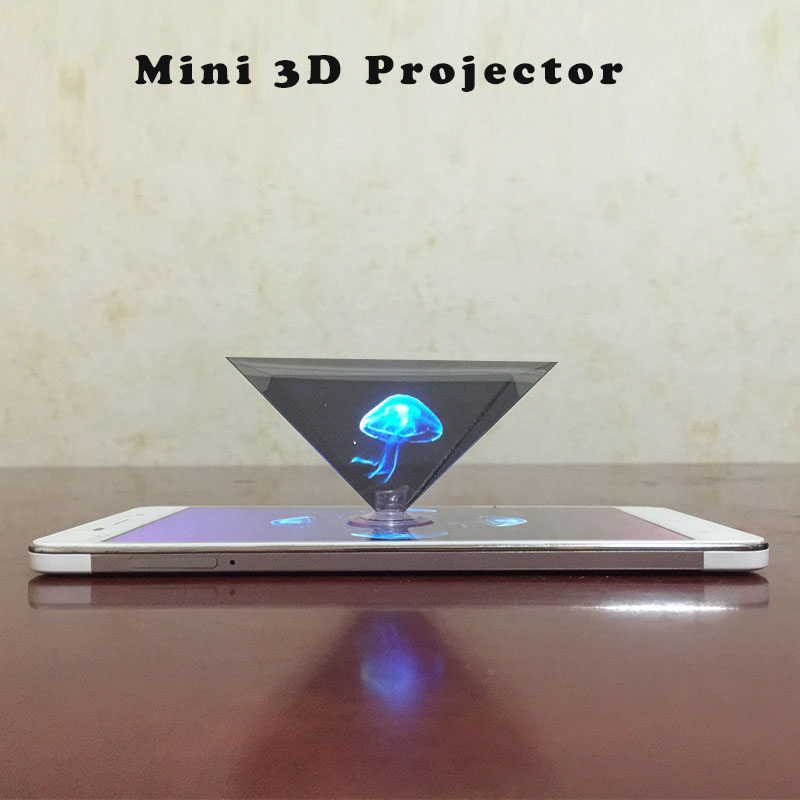 Hologram 3D Projection Display Projector Pyramid Screen Video Stand Universal For Smart Mobile Phone