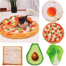 الحيوانات الأليفة القط سرير كلب حصيرة و بطانية مجموعة الإبداعية نمط البيض البيتزا الملفوف الأفوكادو الخبز شكل وسادة الشتاء الدافئة لوازم
