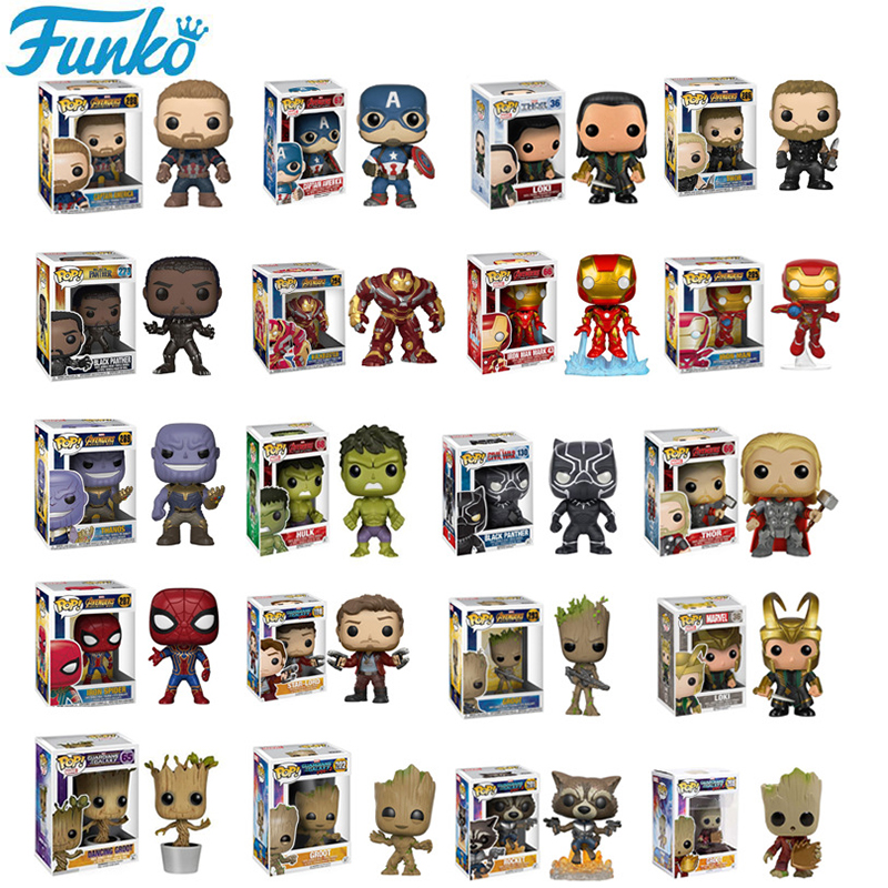 FUNKO POP Marvel Avengers Spiderman Iron Man PVC Action Figures Brinquedos Collection Model Original Box Toys Birthday 3F20