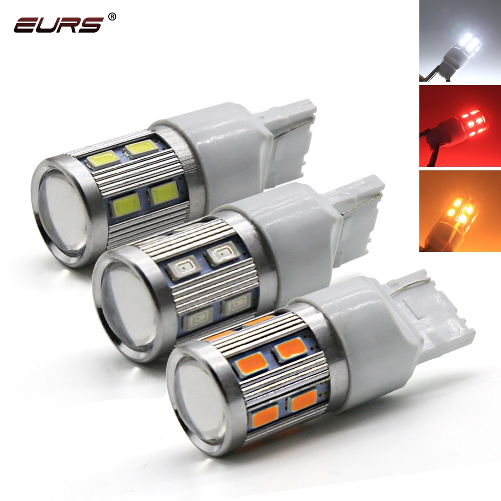 EURS 2pieces 7440 1157 P21W T20 1156 BY15D 13smd 5630 LED Auto Brake Light Car DRL Driving Lamp Reverse Bulbs Turn Signals