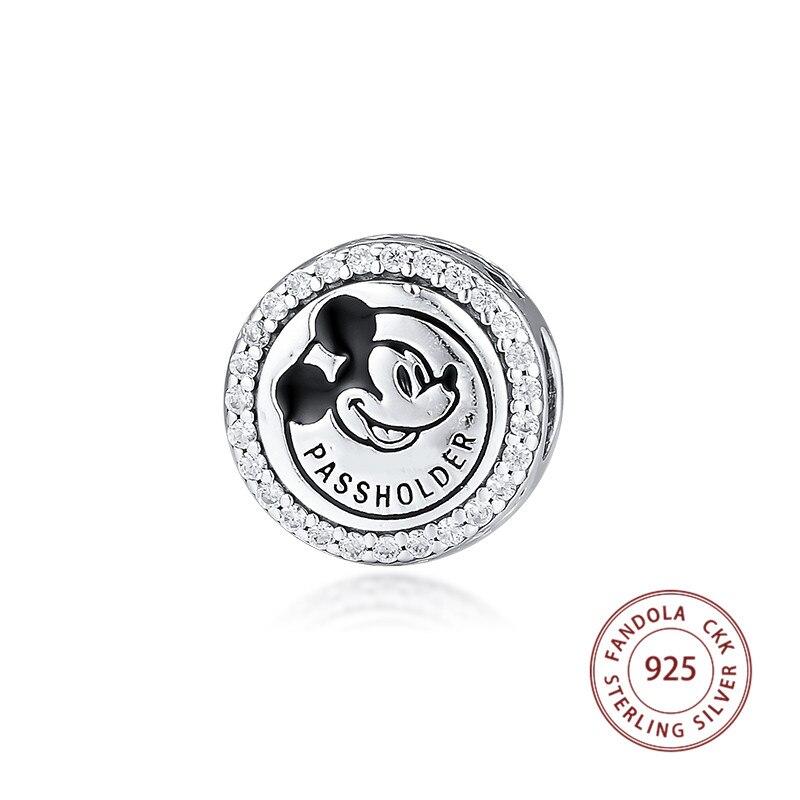 Beads Fit Pandora Pulseira Prata Esterlina 925 PASSHOLDER Mickey Encantos Talão para Fazer Jóias berloques prata 925 originais