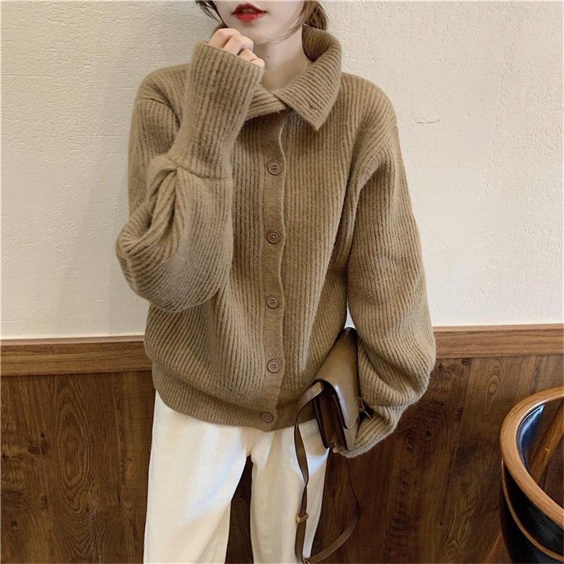 Hzirip Autumn Sweet Women Fresh Solid All Match Knitted Regular Cardigans 2020 Elegant Soft Warm Feminine Fashion Sweaters|Cardigans|   - AliExpress