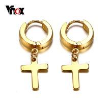 Vnox Cross Earrings for Women Men Gold Color Stainless Steel Men's Stud Earrings Religious Jewelry minimalist stainless steel snowman stud earrings for women gold silver color earrings bijoux pendientes hombre brincos jewelry