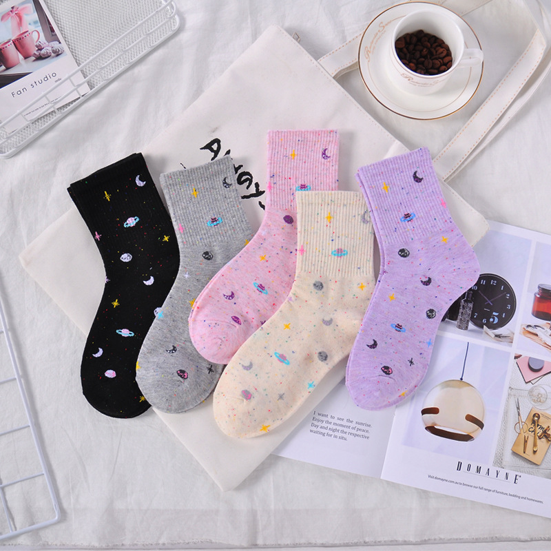 Fashion Woman Socks Funny Planet Moon Space Pattern Woman Cotton Korean Female Style Fun Colorful Girl Pink Long Socks