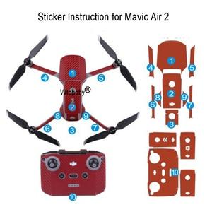 Image 5 - Pegatinas para drones de colores para DJI Mavic Air 2, película protectora decorativa cuerpo de Dron + mando a distancia + 3 protector de batería