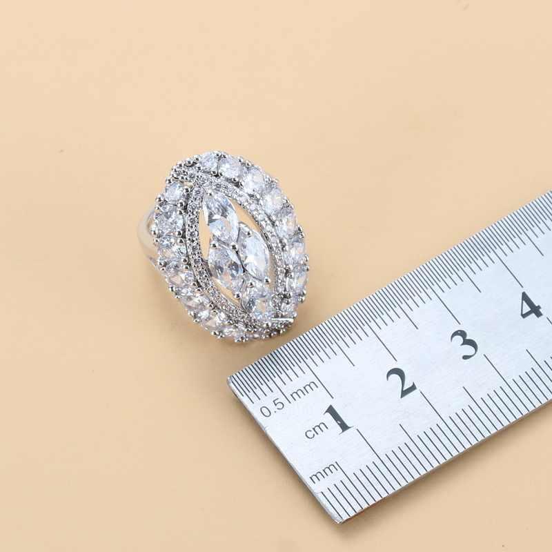 คลาสสิกอุปกรณ์จัดงานแต่งงาน 925-แสตมป์สีเงินขนาดใหญ่ชุดเครื่องประดับสำหรับสตรีสีขาวธรรมชาติคริสตัล CZ ชุดเจ้าสาวชุด