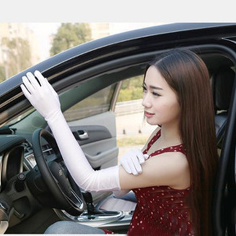 Women's Long Gloves Autumn Winter Fashion Solid Colors Female Satin Opera Evening Party Prom Costume Glove